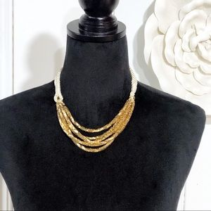 Banana Republic • Gold Strands with Cord Necklace